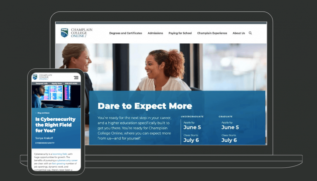 Oho Champlain College Website Design Screenshot
