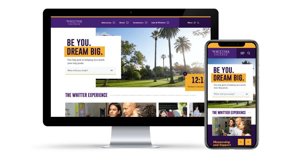 Whittier College Website Design Example
