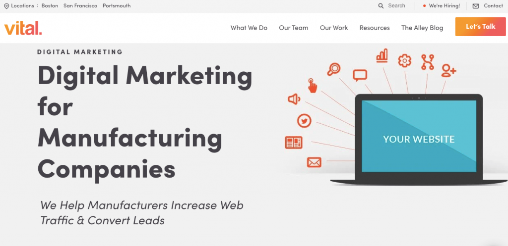 Vital's Manufacturing B2B Marketing Services Page